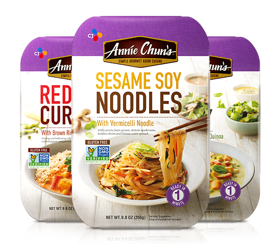 Annie Chun's Sesame Soy Noodles, Red Curry and Green Curry