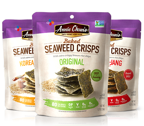 Annie Chun's Baked Seaweed Crisps In Original, Go-chu-jang and Korean-Style BBQ