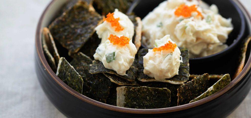 Asian Crab Rangoon Dip with Seaweed Crisps