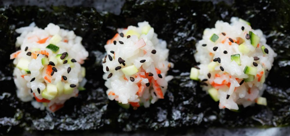 Crab and Cucumber Sushi Rice Balls