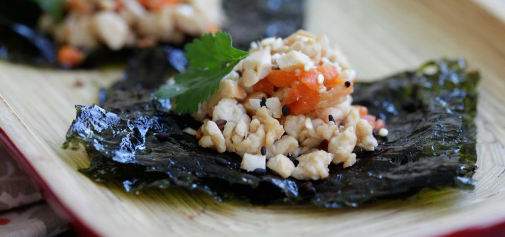 Ground Chicken, Cashew and Seaweed Snack Wraps