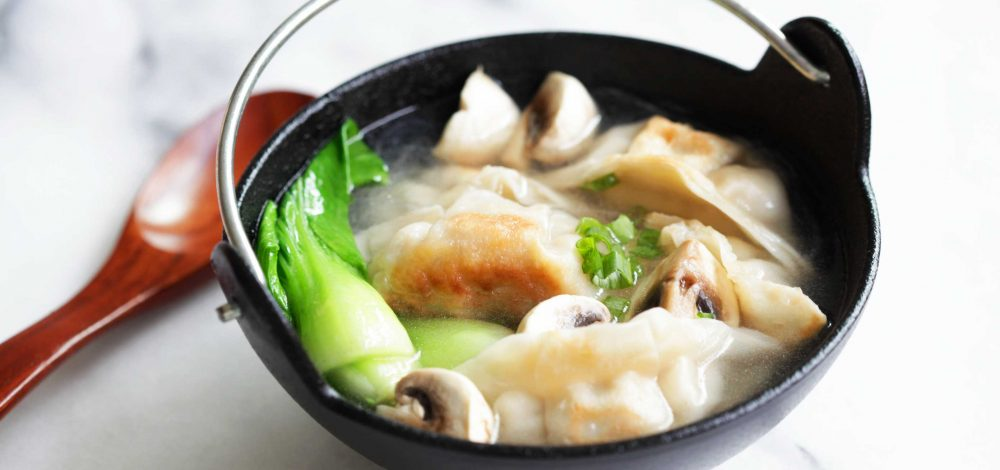 Mushroom and Bok Choy Potstickers Soup