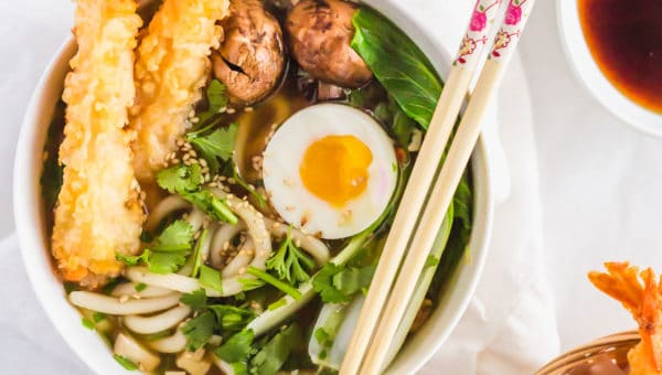 Tempura Egg Miso Udon Noodle Soup Bowl