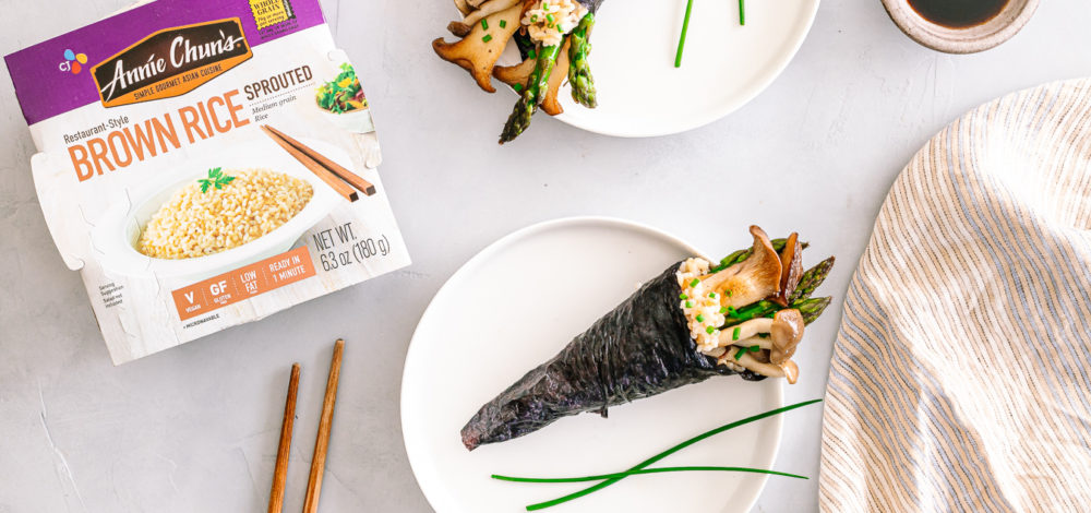 Brown Rice Hand Roll with Asparagus and Mushroom