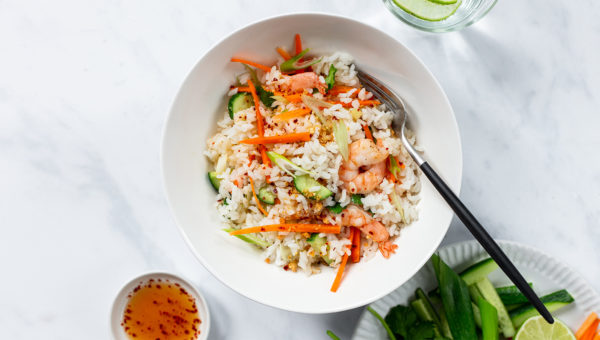 Peanut-Lime Sticky Rice Salad with Shrimp