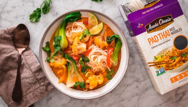 Coconut Red Curry Rice Noodle Soup