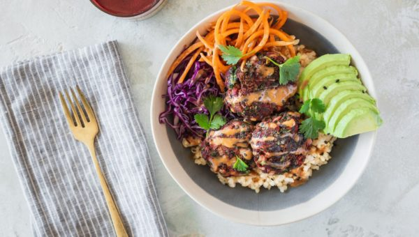 Juice Pulp Fritter Buddha Bowls with Peanut Sauce