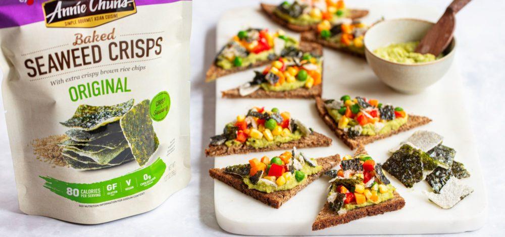 Seaweed Crisp Crostini with Sesame Sweet Pea Hummus