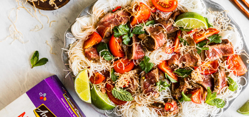 Thai Steak Salad with Maifun Noodles Two Ways