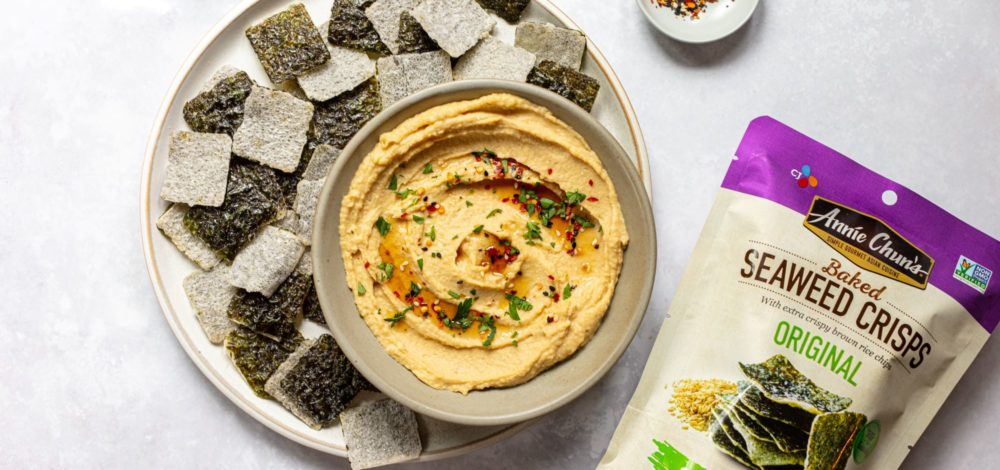 Sesame Miso Hummus with Seaweed Crisps