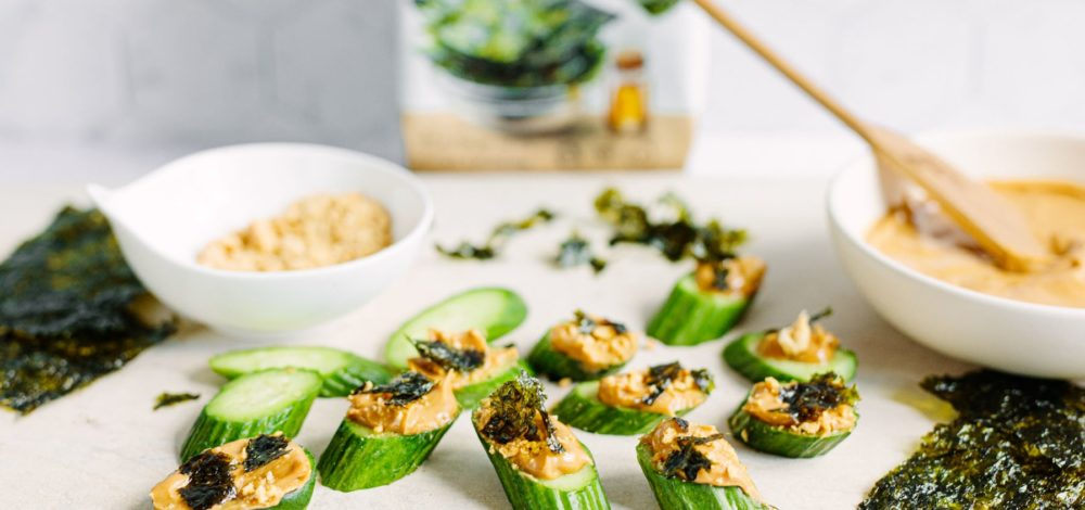 Peanut Butter and Seaweed Cucumber Snacks