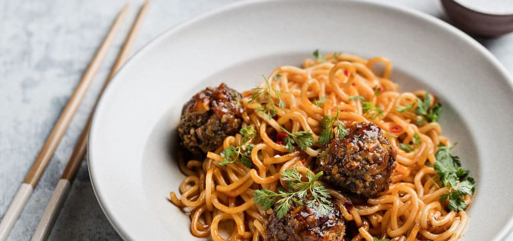 Sweet Chili Vegan Meatballs and Noodles