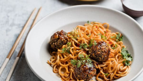 Vegan Meatballs and Noodles with Sweet Chili Sauce