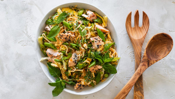 Chilled Sweet Chili Noodle And Salmon Salad
