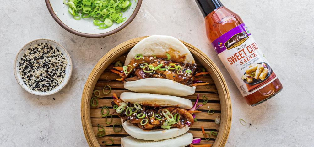 Sweet Chili BBQ Mushroom Bao Buns with Asian-Style Salad