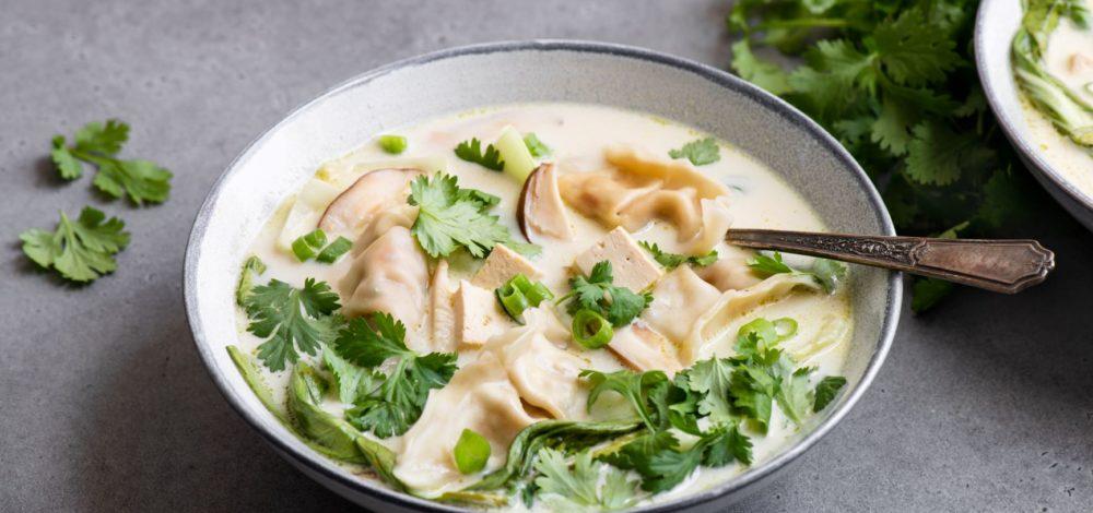 Lemongrass Coconut Potsticker Soup