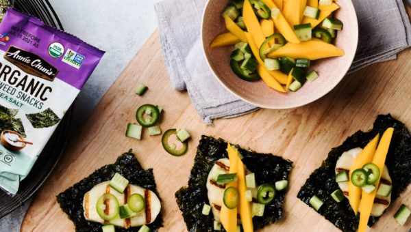 Halloumi Seaweed Snacks with Cucumber Mango Salsa