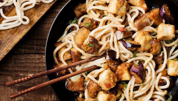 Crispy Tofu and Eggplant Udon Stir-Fry
