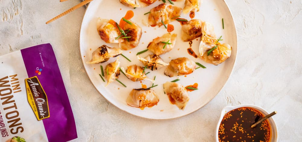 Crispy Wontons with Toasted Sesame Chili Oil