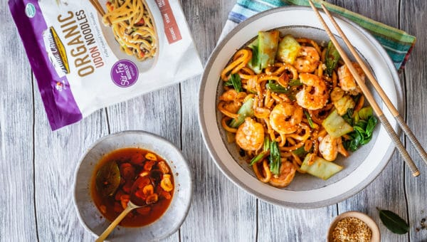 Szechuan Noodles with Garlic Shrimp