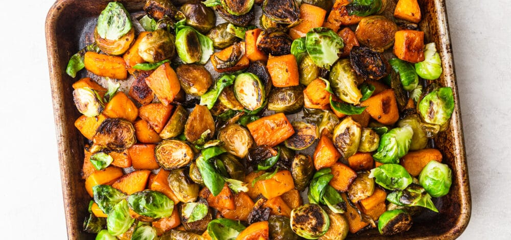 Teriyaki Roasted Butternut Squash & Brussels Sprouts