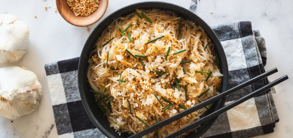 Garlic Sesame Noodles With Crispy Rice