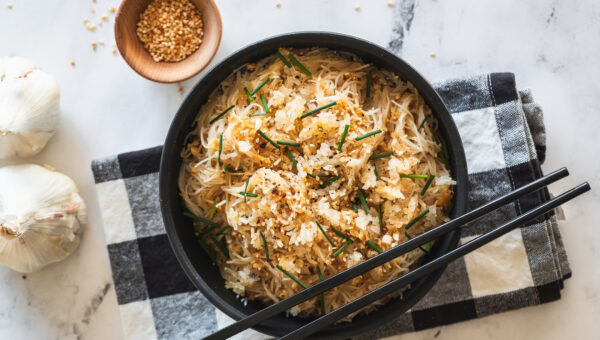Garlic Sesame Noodles With Crispy Rice