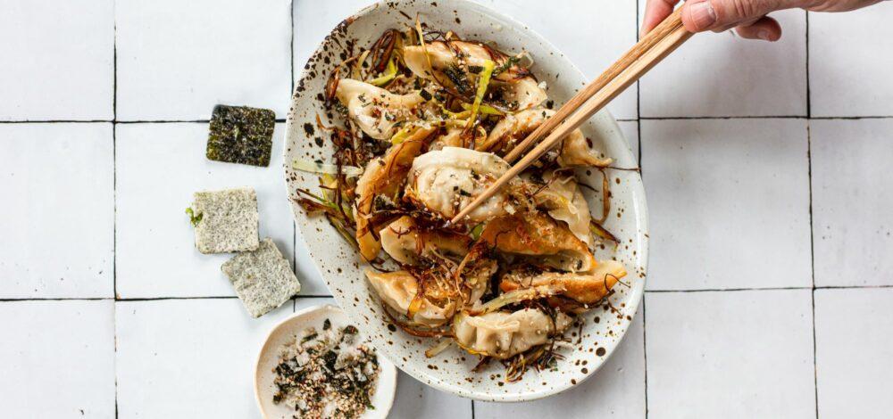 Leek Potstickers with Sesame Seaweed Crisp Sprinkles