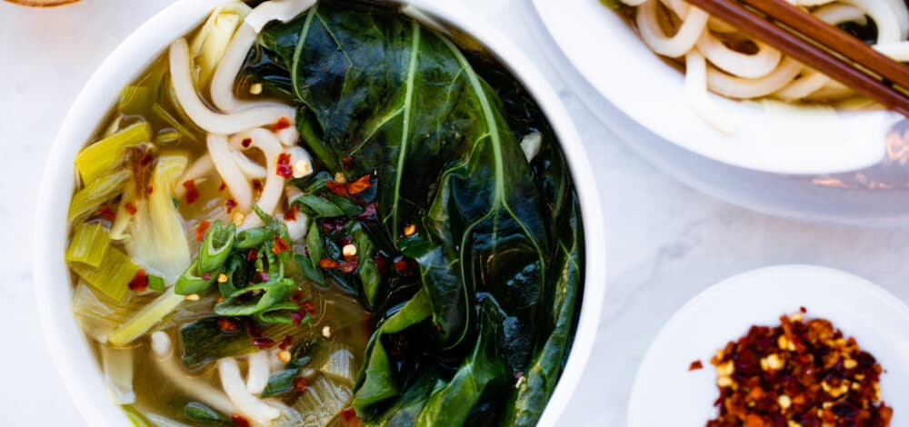 Udon Soup With Leek & Mustard Greens