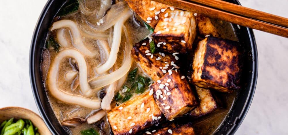 Sesame Noodle Soup with Crispy Miso Tofu