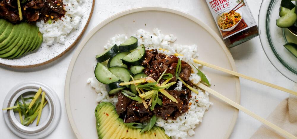 Teriyaki Beef Bowls with Cucumber and Avocado
