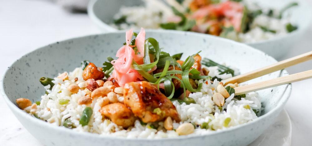 Crispy Sweet Chili Chicken Rice Bowl